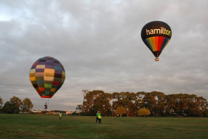 Hamilton and smaller balloon